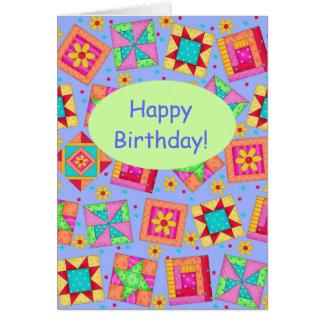 Cumpleaños del arte del bloque del edredón de tarjeta de felicitación