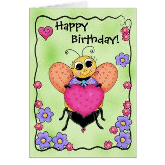 Cumpleaños del arte del corazón de la abeja de la  tarjeta pequeña