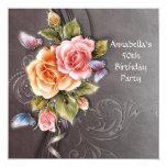 Cumpleaños del arte floral rosado de los rosas del invitacion personal