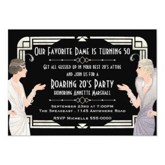 """Cumpleaños del bar de los años 20 del rugido invitación 5"""" x 7"""""""