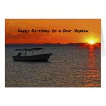 Cumpleaños del barco de pesca feliz a un estimado tarjeta