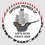 Cumpleaños del barco pirata etiquetas redondas
