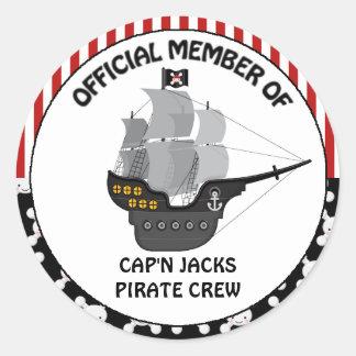 Cumpleaños del barco pirata pegatina redonda