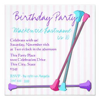 """Cumpleaños del bastón invitación 5.25"""" x 5.25"""""""