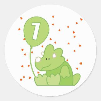 Cumpleaños del bebé de Dino 1r Pegatina Redonda