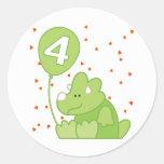 Cumpleaños del bebé de Dino 4to Etiqueta Redonda