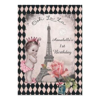 """Cumpleaños del bebé de la princesa torre Eiffel Invitación 5"""" X 7"""""""