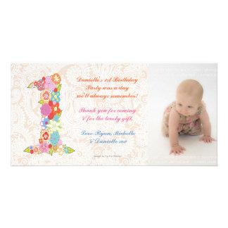 Cumpleaños del bebé de los bebés el 1r le agradece tarjetas fotográficas