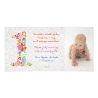 Cumpleaños del bebé de los bebés el 1r le agradece tarjetas fotograficas personalizadas