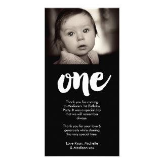 Cumpleaños del bebé de los bebés el 1r le agradece tarjetas fotográficas personalizadas