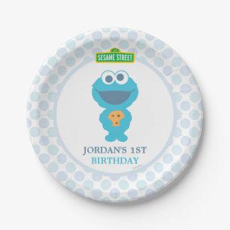 Cumpleaños del bebé del monstruo de la galleta plato de papel de 7 pulgadas