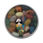 Cumpleaños del bebé del pingüino el 1r latas de dulces