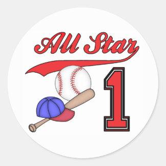 Cumpleaños del béisbol de All Star 1r Pegatina Redonda