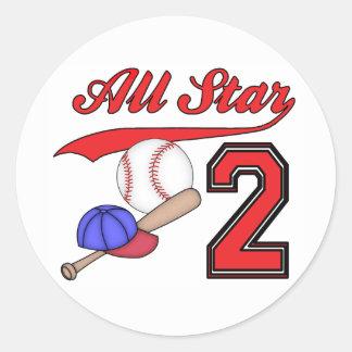 Cumpleaños del béisbol de All Star 2do Pegatina Redonda