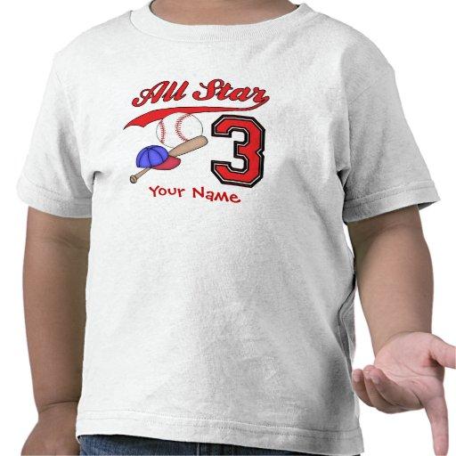 Cumpleaños del béisbol de All Star 3ro personaliza Camisetas