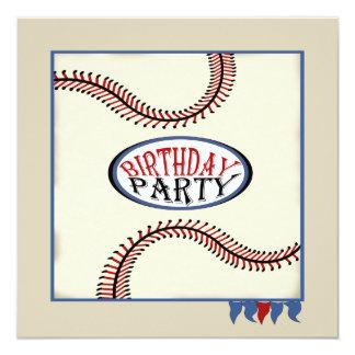 """Cumpleaños del béisbol de la ciudad natal invitación 5.25"""" x 5.25"""""""