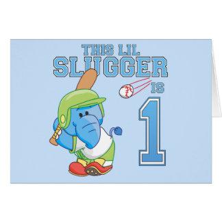 Cumpleaños del béisbol del elefante 1r tarjeta pequeña