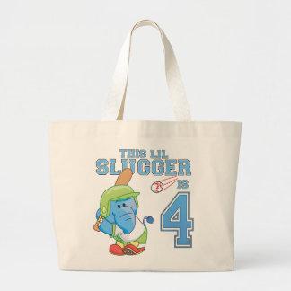 Cumpleaños del béisbol del elefante 4to bolsa tela grande