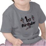 Cumpleaños del béisbol del mono del calcetín 1r camisetas