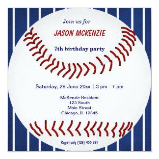 """Cumpleaños del béisbol invitación 5.25"""" x 5.25"""""""