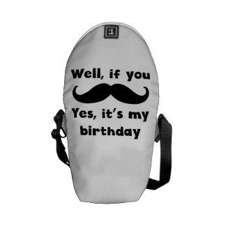 Cumpleaños del bigote bolsa de mensajeria
