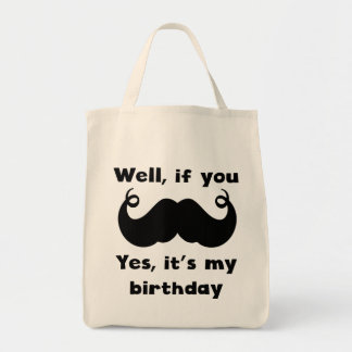 Cumpleaños del bigote bolsa tela para la compra