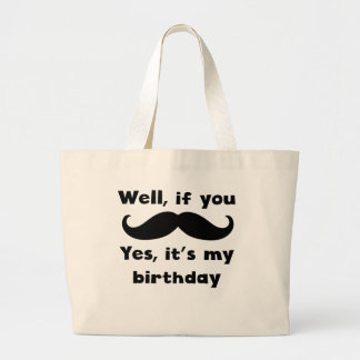 Cumpleaños del bigote bolsa tela grande