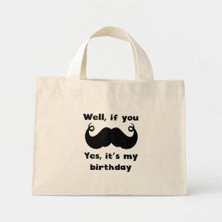 Cumpleaños del bigote bolsa tela pequeña