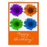 Cumpleaños del bloque de la flor del arte pop feli tarjetón