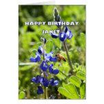 Cumpleaños del Bluebonnet de Janet Tejas feliz Tarjeta De Felicitación