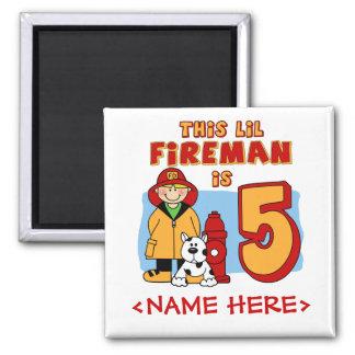 Cumpleaños del bombero de Lil 5to Imán Cuadrado