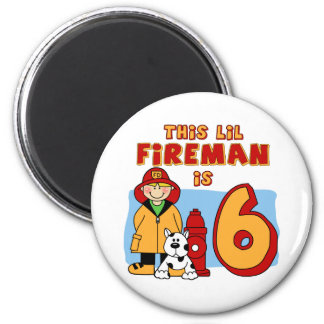 Cumpleaños del bombero de Lil 6to Imán Redondo 5 Cm
