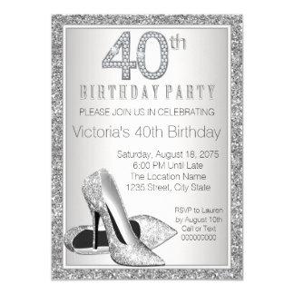 """Cumpleaños del brillo de la mujer 40.o del zapato invitación 4.5"""" x 6.25"""""""