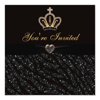 Cumpleaños del brillo de princesa Crown, del Invitación 13,3 Cm X 13,3cm