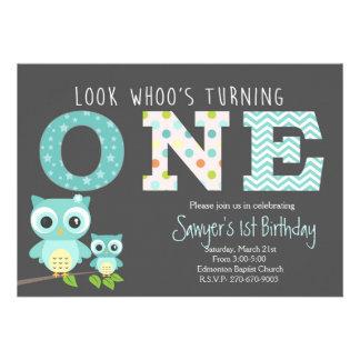 """cumpleaños del búho del muchacho primer - la invitación 5"""" x 7"""""""
