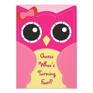 Cumpleaños del búho o invitación rosado lindo de invitación 11,4 x 15,8 cm