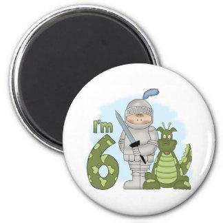 Cumpleaños del caballero del dragón 6to imán redondo 5 cm