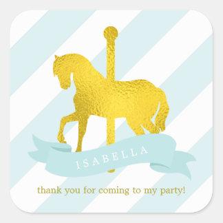 Cumpleaños del caballo del carrusel de la menta pegatina cuadrada