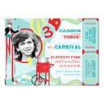 Cumpleaños del caminante del zanco del carnaval y invitaciones personalizada