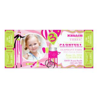 Cumpleaños del caminante del zanco del circo del invitación personalizada
