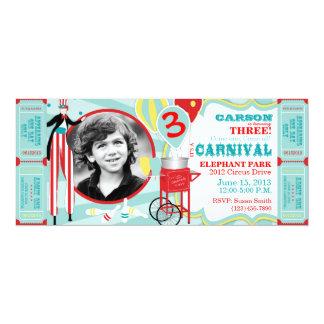 """Cumpleaños del caminante del zanco del circo del invitación 4"""" x 9.25"""""""