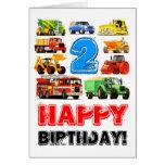 Cumpleaños del camión grande del niño 2do felicitación