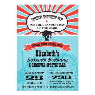 Cumpleaños del carnaval del circo invitaciones personalizada