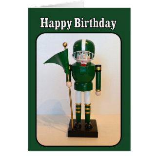 Cumpleaños del cascanueces del futbolista feliz tarjeta de felicitación