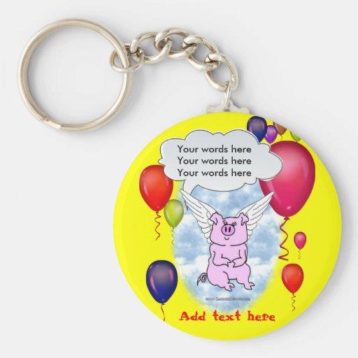 Cumpleaños del cerdo del vuelo llavero personalizado