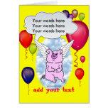 Cumpleaños del cerdo del vuelo tarjetas
