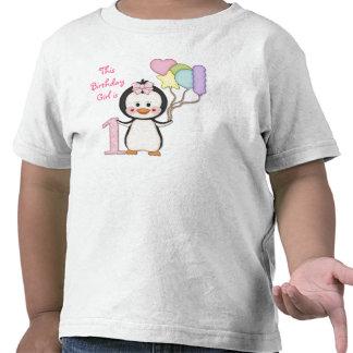 Cumpleaños del chica de Cutie- del pingüino primer Camiseta