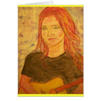 cumpleaños del chica de la guitarra tarjeta de felicitación