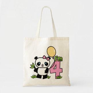 Cumpleaños del chica de la panda 4to bolsa tela barata