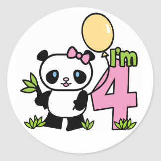Cumpleaños del chica de la panda 4to pegatina redonda